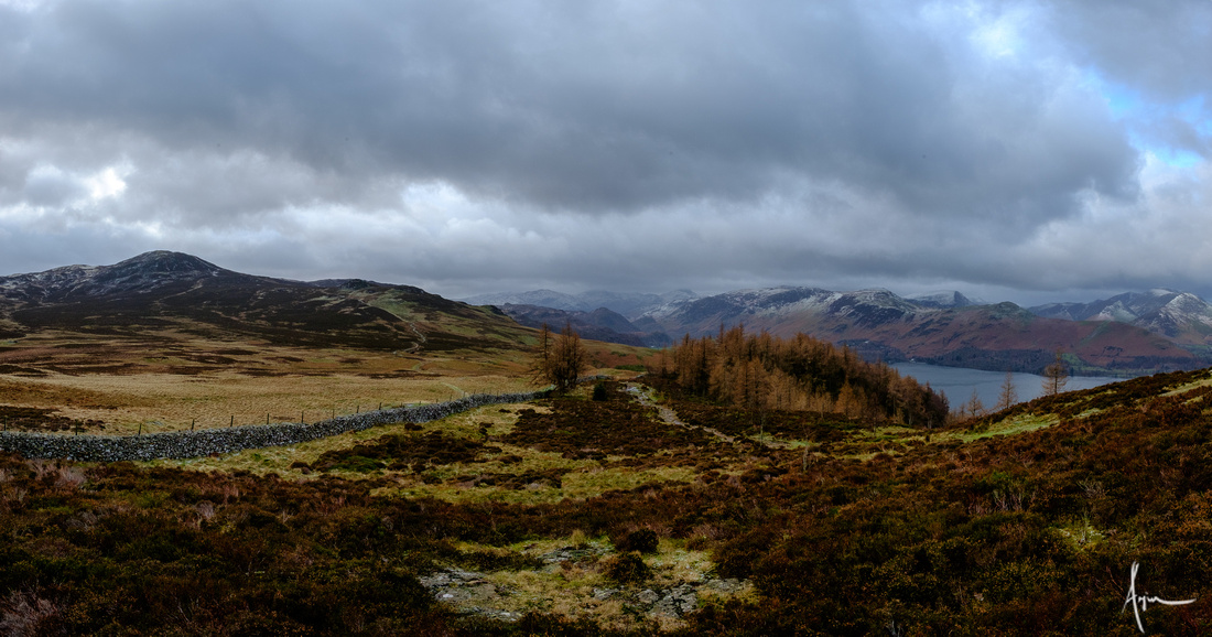 Bleaberry fell and central Lakeland fells from Wall Crag
